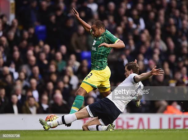 Vadis Odjidja Ofoe of Norwich City is tackled by Jan Vertonghen of Tottenham Hotspur during the Barclays Premier League match between Tottenham...