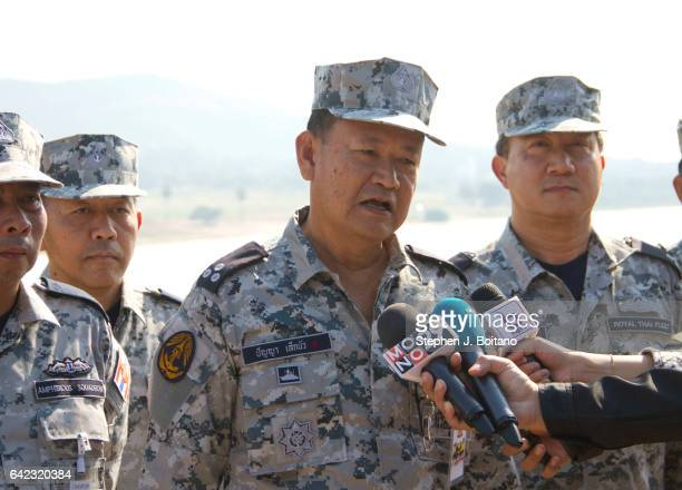 SATTAHIP CHONBURI THAILAND Vadm Panya Lekbua Deputy Commander in Chief Royal Thai Fleet speaks to the media before the USThai joint military exercise...