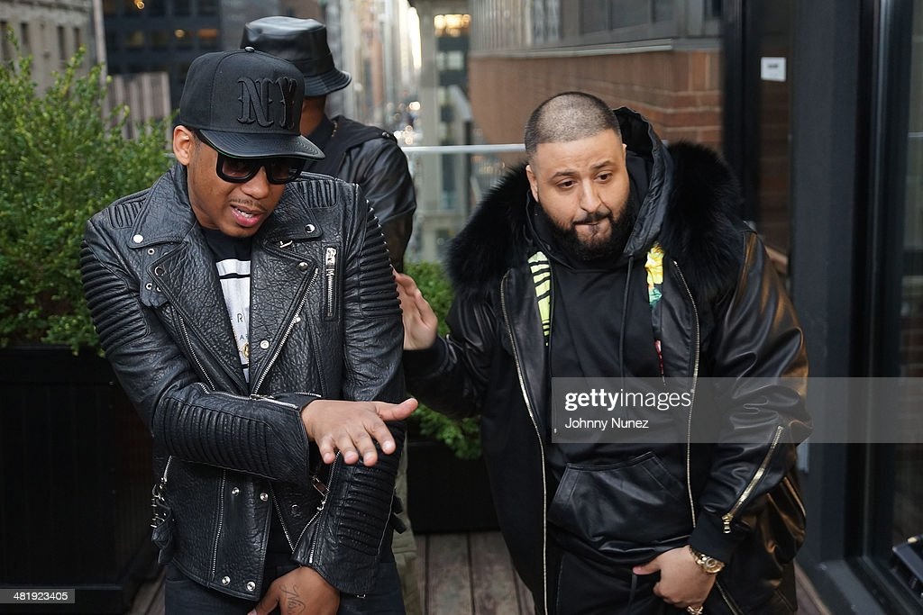 Vado and <a gi-track='captionPersonalityLinkClicked' href=/galleries/search?phrase=DJ+Khaled&family=editorial&specificpeople=577862 ng-click='$event.stopPropagation()'>DJ Khaled</a> attend Vado's 'My Bae' video shoot featuring Jeremih at The Griffin on April 1, 2014 in New York City.