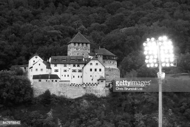 Vaduz Castle is seen on a hill overlooking the stadium ahead of the FIFA 2018 World Cup Qualifier between Liechtenstein and Spain at Rheinpark...