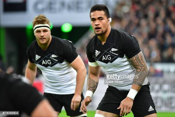 Vaea Fifita of New Zealand and Sam Cane of New Zealand during the test match between France and New Zealand at Stade de France on November 11 2017 in...