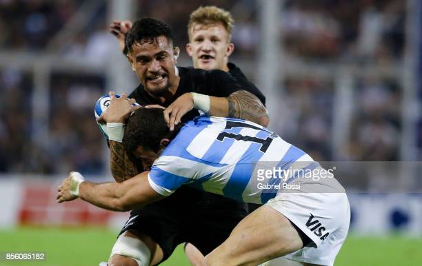 Vaea Fifita of New Zealand is tackled by Emiliano Bofelli of Argentina during a match between Argentina and New Zealand as part of Rugby Championship...