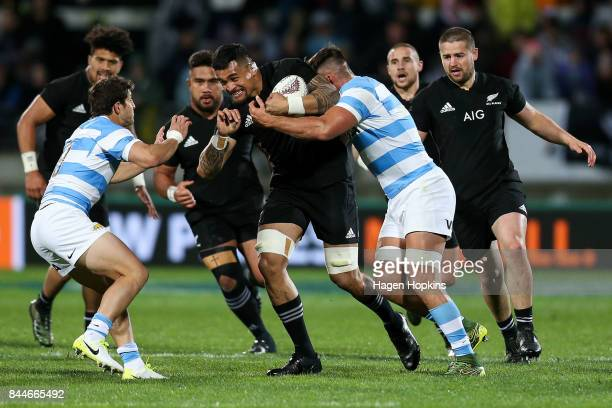 Vaea Fifita of New Zealand is tackled by Pablo Matera of Argentina during The Rugby Championship match between the New Zealand All Blacks and...