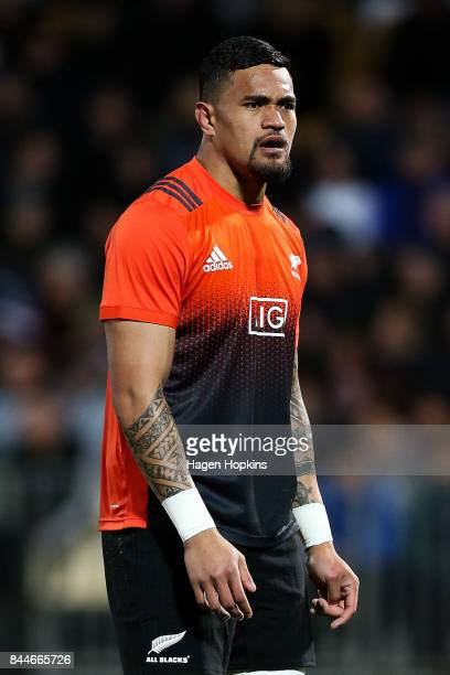 Vaea Fifita of New Zealand looks on during The Rugby Championship match between the New Zealand All Blacks and Argentina at Yarrow Stadium on...