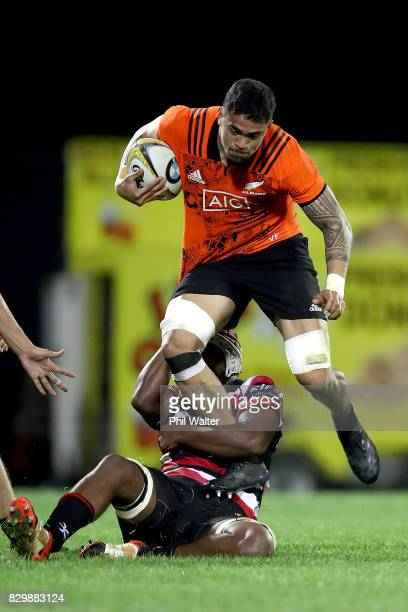 Vaea Fifita of the All Blacks is tackled during the Game of Three Halves between the All Blacks and Counties at ECOLight Stadium on August 11 2017 in...