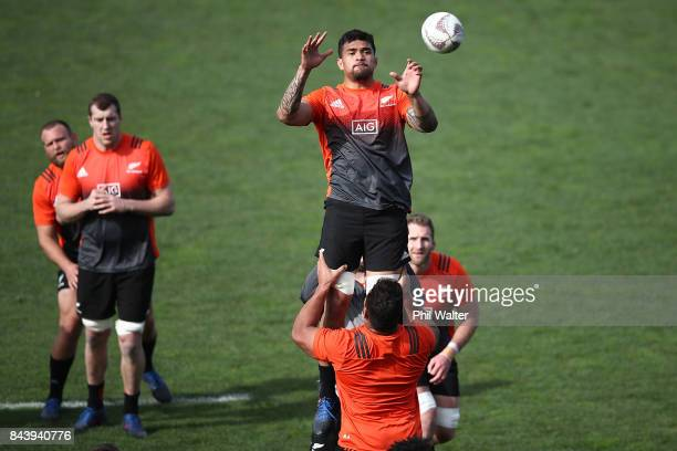 Vaea Fifita of the All Blacks takes the ball in the lineout during the New Zealand All Blacks captain's run at Yarrow Stadium on September 8 2017 in...