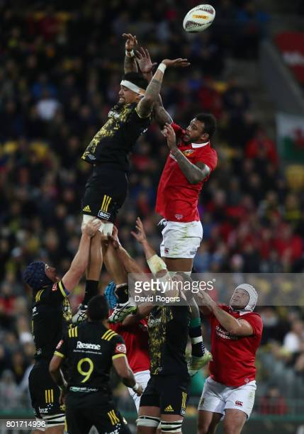 Vaea Fifita of the Hurricanes and Courtney Lawes of the Lions compete for lineout ball during the 2017 British Irish Lions tour match between the...