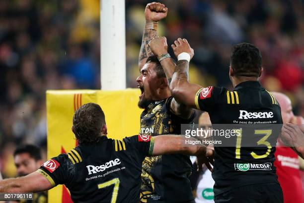 Vaea Fifita of the Hurricanes celebrates after scoring a try during the match between the Hurricanes and the British Irish Lions at Westpac Stadium...