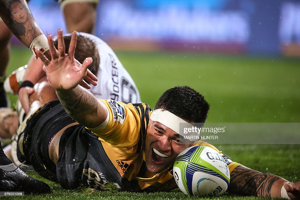 Vaea Fifita of the Hurricanes celebrates scoring a try during the Super Rugby quarterfinal match between South Africa's Coastal Sharks and New...