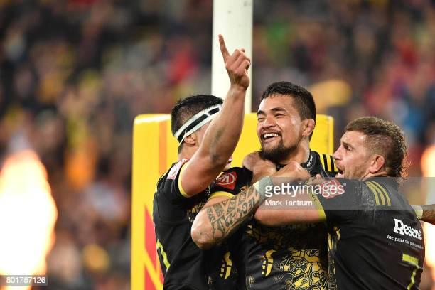 Vaea Fifita of the Hurricanes celebrates scoring the equaliser during the match between the Hurricanes and the British Irish Lions at Westpac Stadium...