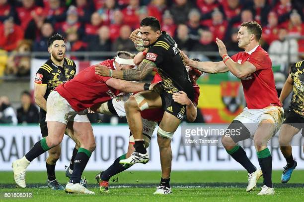 Vaea Fifita of the Hurricanes during the match between the Hurricanes and the British Irish Lions at Westpac Stadium on June 27 2017 in Wellington...