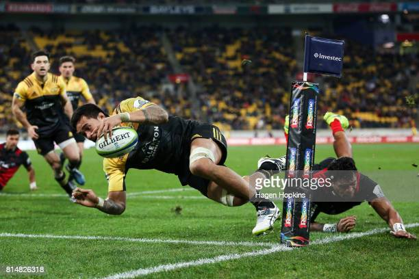Vaea Fifita of the Hurricanes scores a try during the round 17 Super Rugby match between the Hurricanes and the Crusaders at Westpac Stadium on July...