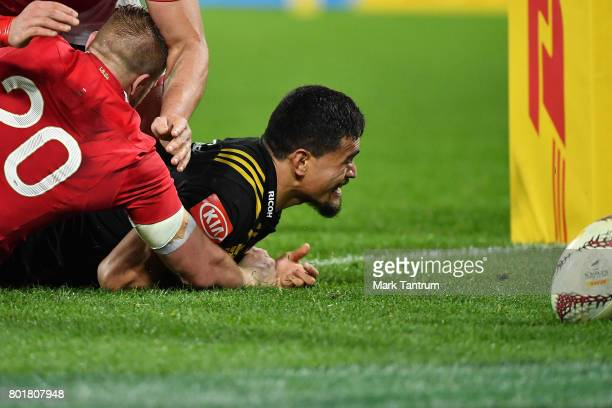 Vaea Fifita of the Hurricanes scores the equalising try during the match between the Hurricanes and the British Irish Lions at Westpac Stadium on...