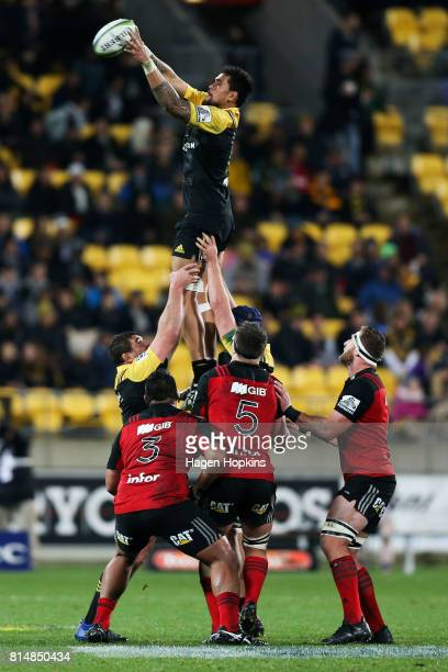 Vaea Fifita of the Hurricanes wins a lineout ball during the round 17 Super Rugby match between the Hurricanes and the Crusaders at Westpac Stadium...