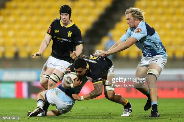 Vaea Fifita of Wellington is tackled during the round nine Mitre 10 Cup match between Wellington and Northland at Westpac Stadium on October 12 2017...