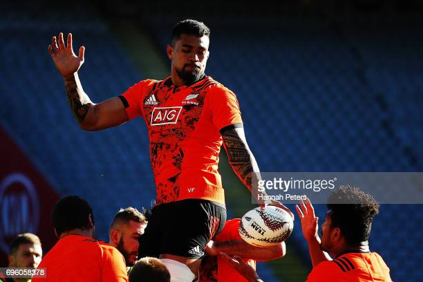 Vaea Fifita runs through lineout drills during a New Zealand All Blacks training session at Eden Park on June 15 2017 in Auckland New Zealand