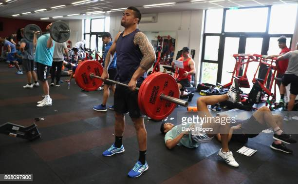 Vaea Fifita takes part in the New Zealand All Blacks gym session at the Lensbury on October 30 2017 in London England