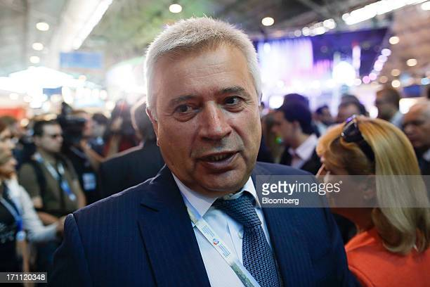 Vagit Alekperov Russian billionaire and chief executive officer of OAO Lukoil speaks to the media during a break between sessions on day two of the...
