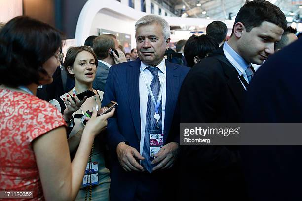 Vagit Alekperov Russian billionaire and chief executive officer of OAO Lukoil center speaks to the media during a break between sessions on day two...