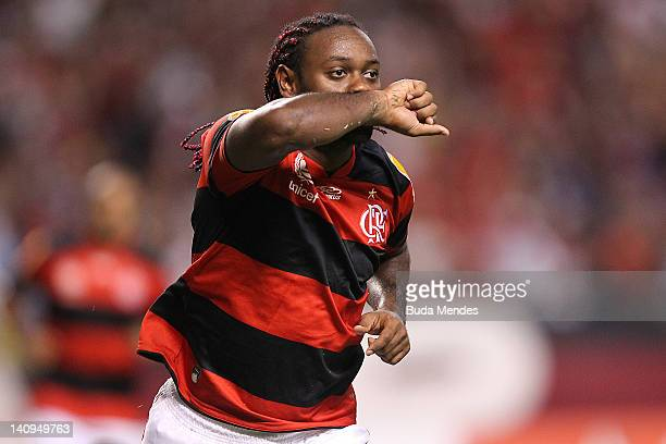Vagner Love of Flamengo celebrates a scored goal againist of Emelec during a match between Flamengo and Emelec as part of Santander Libertadores Cup...