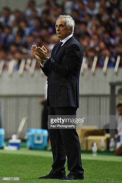 Vahid Halilhodzic coach of Japan is happy with player's performance [action] during the 2018 FIFA World Cup Qualifier Round 2 Group E at Saitama...