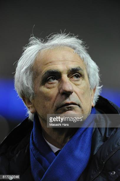 Vahid Halilhodzic coach of Japan looks on after the FIFA World Cup Russia Asian Qualifier second round match between Japan and Afghanistan at the...