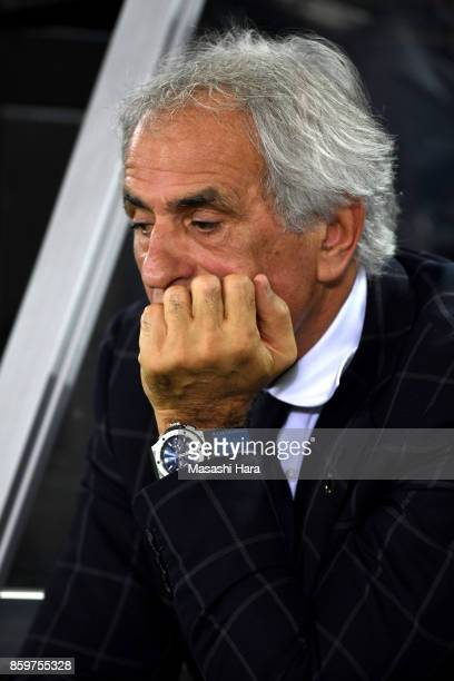 Vahid Halilhodzic coach of Japan looks on after the international friendly match between Japan and Haiti at Nissan Stadium on October 10 2017 in...