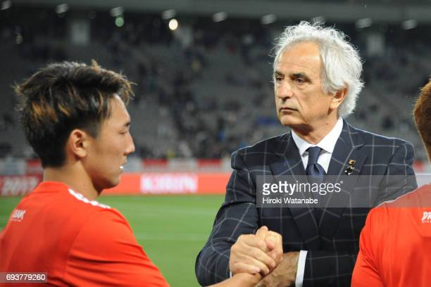 Vahid Halilhodzic coach of Japan shake hands with fter the international friendly match between Japan and Syria at Tokyo Stadium on June 7 2017 in...