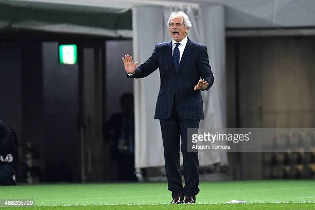 Vahid Halilhodzic head coach of Japan gestures during the international friendly match between Japan and Uzbekistan at Ajinomoto Stadium on March 31...