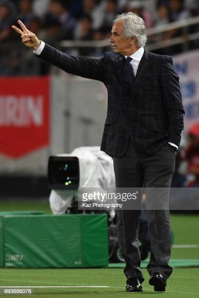 Vahid Halilhodzic head coach of Japan instructs the players during the international friendly match between Japan and Syria at Tokyo Stadium on June...