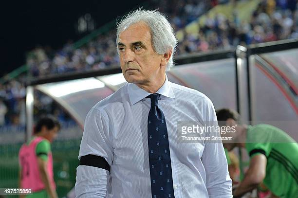 Vahid Halilhodzic Head coach of Japan looks on during the 2018 FIFA World Cup Qualifier match between Cambodia and Japan on November 17 2015 in Phnom...