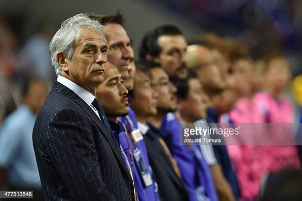 Vahid Halilhodzic manager of Japan looks on during the 2018 FIFA World Cup Asian Qualifier second round match between Japan and Singapore at Saitama...