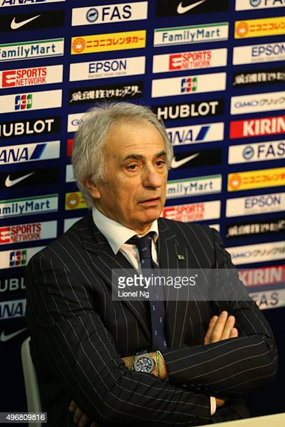 Vahid Halilhodzic of France and team coach of Japan speaks at the post match press conference after the 2018 FIFA World Cup Qualifier match between...