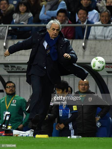 Vahid Halilhodziccoach of Japan kicks the ball during the FIFA World Cup Russia Asian Qualifier second round match between Japan and Afghanistan at...