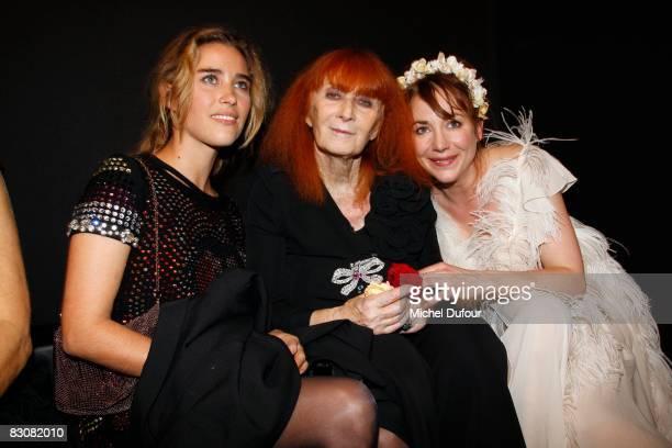 Vahina Giocante Sonia Rykiel and Julie Depardieu attend the Sonya Rikiel fashion show during Paris Fashion Week on October 1 2008 in Paris France