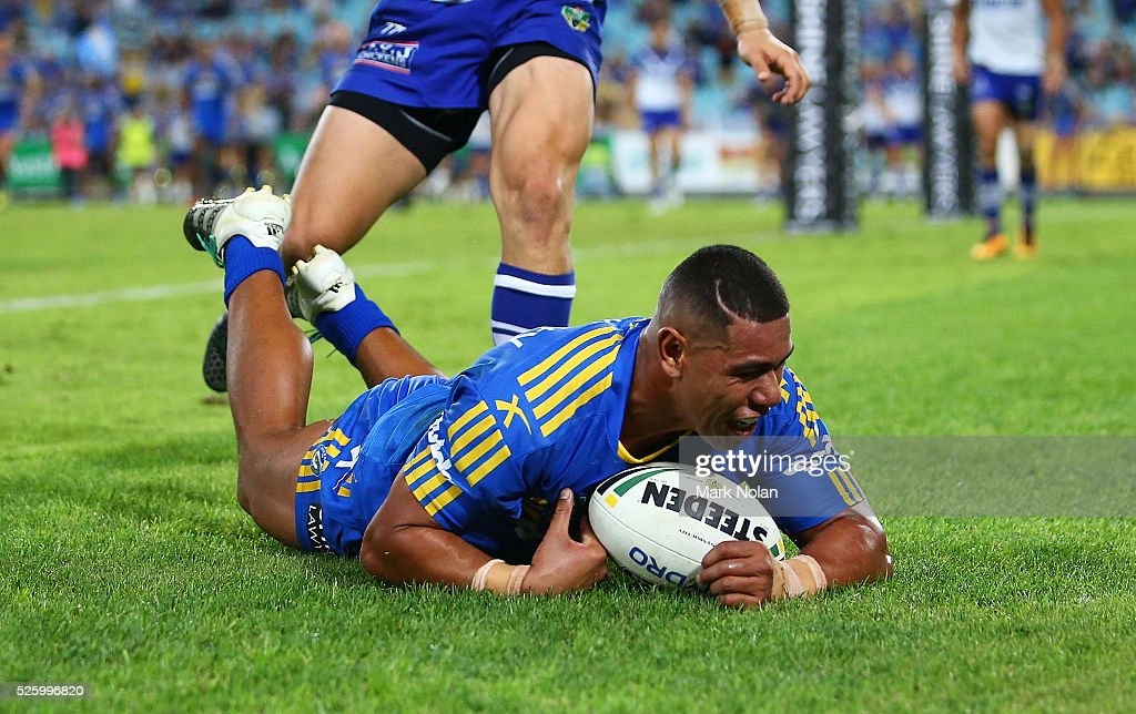 Vai Afu Toutai of the Eels dives on a loose ball to score a try during the round nine NRL match between the Parramatta Eels and the Canterbury Bulldogs at ANZ Stadium on April 29, 2016 in Sydney, Australia.