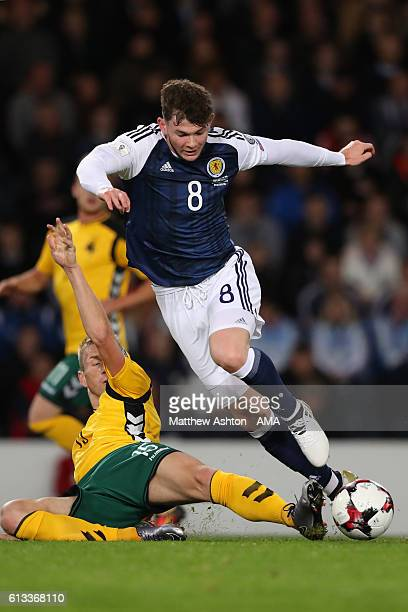 Vaidas Slavickas of Lithuania and Oliver Burke of Scotland during the FIFA 2018 World Cup Qualifier between Scotland and Lithuania at Hampden Park on...