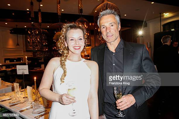 Vaile Fuchs and Hannes Jaenicke attend the Moet Chandon Grand Scores Dinner on February 04 2015 in Berlin Germany