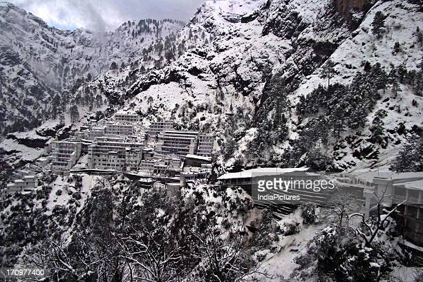 Vaishno Devi situated in the midst of snow clad mountains Jammu and Kashmir India