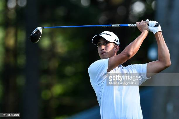 Vaita Guillaume hits his tee on the first hole during round three of the Mackenzie Investments Open at Club de Golf Les Quatre Domaines on July 22...