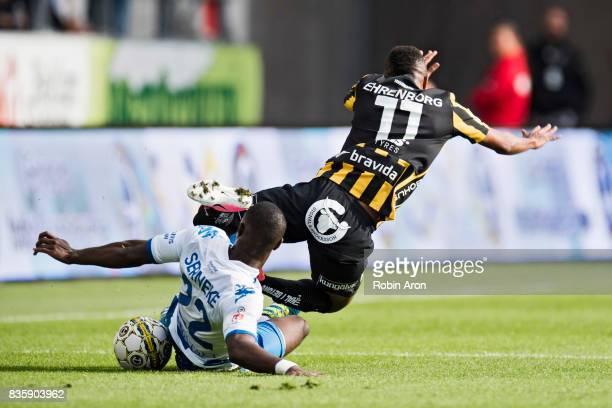 Vajebah Sakor of IFK Goteborg stops Nasiru Mohammed of BK Hacken during the Allsvenskan match between IFK Goteborg and BK Hacken at Gamla Ullevi on...