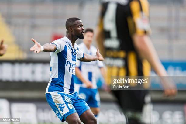 Vajebah Sakor of IFK Goteborg upset dejected during the Allsvenskan match between IFK Goteborg and BK Hacken at Gamla Ullevi on August 20 2017 in...