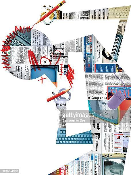 Val B Mina color illustration of newsmedia collage forming into a human shape and making fun of itself by doodling on face