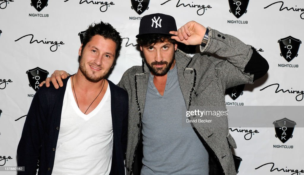 Val Chmerkovskiy (L) and Maksim Chmerkovskiy arrive at the grand opening celebration at 1 Oak Las Vegas at The Mirage Hotel & Casino on January 28, 2012 in Las Vegas, Nevada.