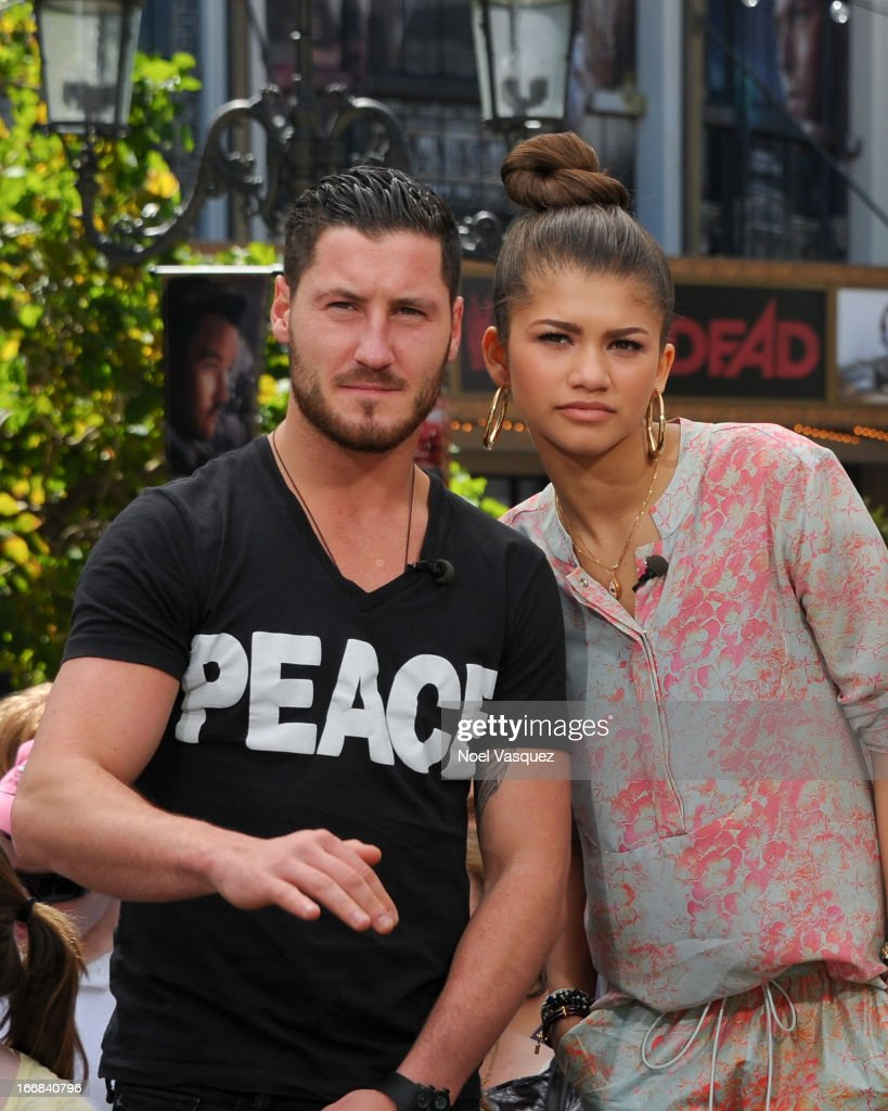 Val Chmerkovskiy (L) and <a gi-track='captionPersonalityLinkClicked' href=/galleries/search?phrase=Zendaya+Coleman&family=editorial&specificpeople=7115520 ng-click='$event.stopPropagation()'>Zendaya Coleman</a> visit 'Extra' at The Grove on April 17, 2013 in Los Angeles, California.