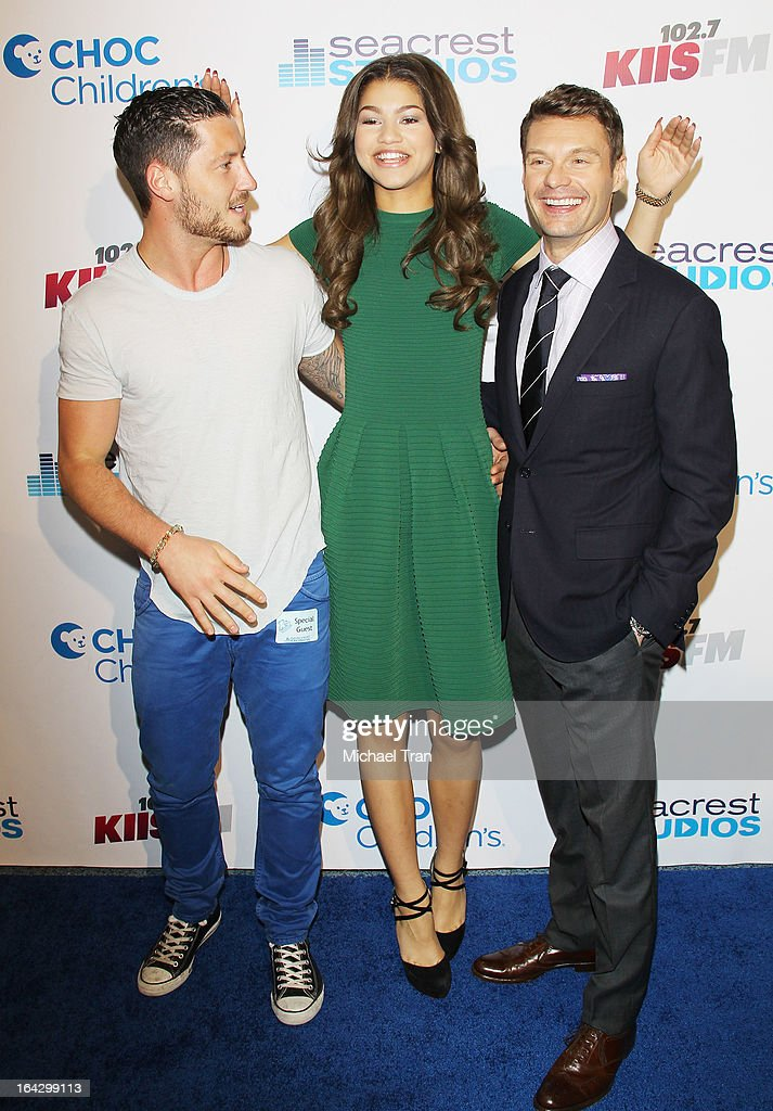 Val Chmerkovskiy, Zendaya Coleman and Ryan Seacrest attend The Ryan Seacrest Foundation West Coast debut of new multi-media broadcast center 'Seacrest Studios' held at CHOC Children's Hospital on March 22, 2013 in Orange, California.
