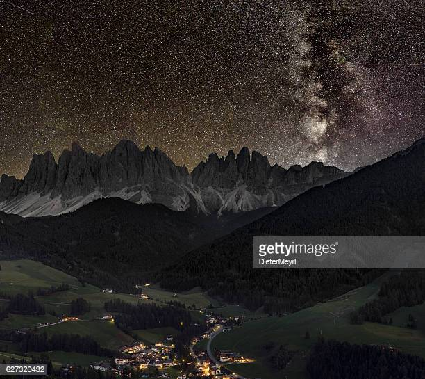 Val di Funes, Villnöss with geisler group under Milky Way