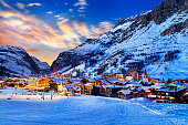 Famous and luxury place of Val d'Isere at sunset, Tarentaise, Alps, France