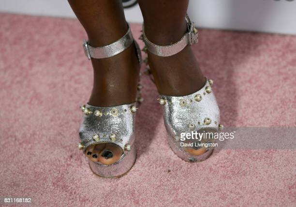 Val Fleury shoe detail attends Day 2 of the 5th Annual Beautycon Festival Los Angeles at the at Los Angeles Convention Center on August 13 2017 in...