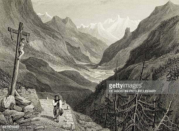 Val Formazza by William Brockedon from Illustrations of the Passes of the Alps 1828 Italy 19th century